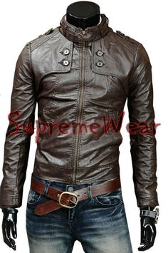 Handmade New Men Soft Button Front Leather Jacket, Men leather jacket, Leather jacket for men op Etsy, 104,12€
