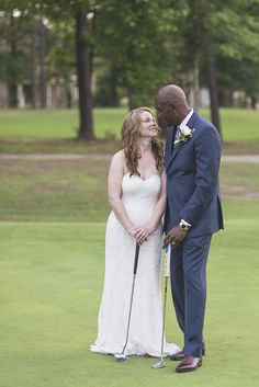 Intimate Military Elopement | Smithfield, Virginia Wedding | Golf course bride and groom