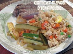 Copycat Hibachi Steakhouse Meal- One of our favorite dining out meals is at our local Sumo's Restaurant, a Japanese Hibachi Steakhouse that offers up the most tender cuts of meat, perfectly seasoned stir fried rice and of course plenty of yum-yum sauce. The price of this meal can easily run $25-30 per person though, so here's our copycat recipe, for about $3 per person. (Click on photo for recipe)