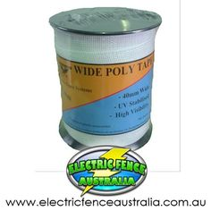 ELECTRIC FENCE TAPE 40MM X 200M Metres White Fencing Poly Horse Paddock 200 m