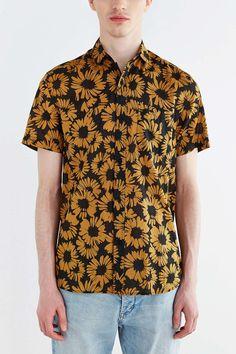 Koto Short-Sleeve Sunflower Breezy Button-Down Shirt