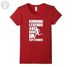 Womens Running Legends Are Born In September Birthday T-Shirt Large Cranberry - Birthday shirts (*Amazon Partner-Link)