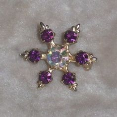 Vintage Purple Rhinestone Brooch 1950s 1960s by 4dollsintime, $14.00