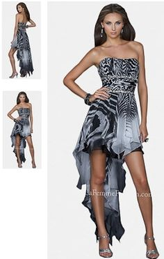 High Low Animal Print Prom Dress by La Femme — Delightful Prom Dress With Strapless design High Low Skirt Animal print Cuts above the knee Poly Chiffon