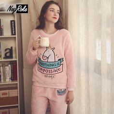 Winter keep warm women pajamas sets cute cartoon Coral fleece flannel  simple long sleeve sleepwear for d5b0c1f90