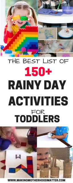 The Best List of Rainy Day Activities for Toddlers - Peak at the best list of over 150 rainy day activities for toddlers. This includes crafts, quiet ga - Activities For 2 Year Olds, Sensory Activities Toddlers, Indoor Activities, Craft Activities For Kids, Infant Activities, Educational Activities, Learning Activities, Kids Crafts, Stem Activities