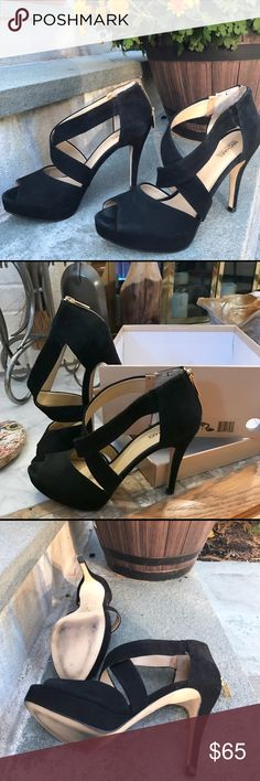 ✨Michael Kors Ariel Platform❣️ ✨These platform are black suede, worn twice, open toe, back zip, us size 7.5, 4in heels very comfortable. Comes with the original box. ✨ Michael Kors Shoes Platforms