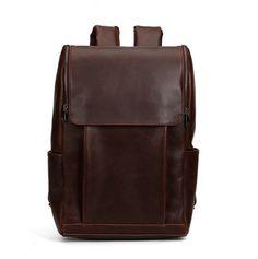 Mens Leather Backpack School Bag Travel Shoulder Bag Leather Rucksack Student Backpack