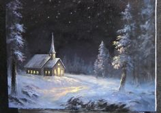Do you enjoy painting winter scenes? Watch Kevin as he shows you how to paint this light-filled church with snowy trees at night. For more paintings like this, go to www.paintwithkevin.com