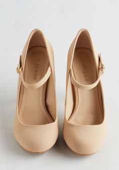 Shoe Had Me At Hello Heel in Beige. Its sure to be love at first step when you buckle into these beige Mary Jane heels. #tan #modcloth