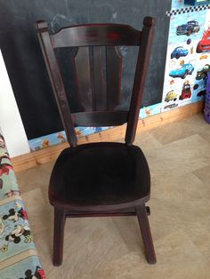 Upcycled chair with AS chalk paint. Love love the black paint, comes out really well on dark pieces. I put a coat of red underneath & distressed it with some wax.