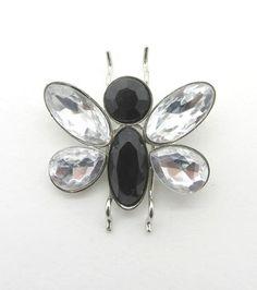 Vintage Black and White Rhinestone Butterfly by LeesVintageJewels
