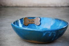Personalized Dog Bowl pet feeding Dish water bowl by claylicious