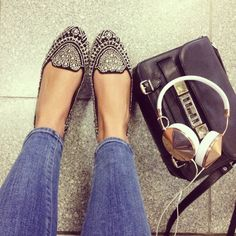 Embellished Loafers, JC Flats