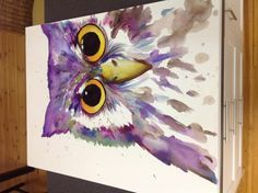 Watercolour and pastel Owl 100x75cm