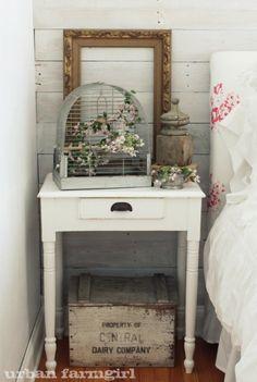 Sweet Shabby Bedroom...vintage birdcage & wood finial.