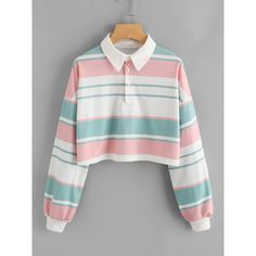 SheIn(sheinside) Drop Shoulder Striped Crop Pullover ($15) ❤ liked on Polyvore featuring tops, multicolor, colorblock top, crop top, cut-out crop tops, long sleeve tops and embellished top