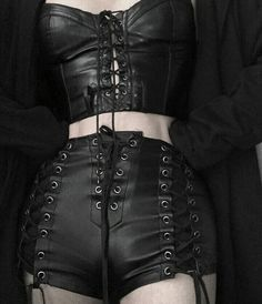 Gothic fashion 751256781578867409 - Gothic-Inspired Black Leather Lace-Up Corset & Shorts Gothic-Inspire… Source by Dark Fashion, Grunge Fashion, Gothic Fashion, Leather Fashion, Mode Alternative, Alternative Fashion, Grunge Outfits, Gothic Outfits, Leather And Lace