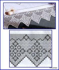 pretty crochet filet border - somewhat like Buck's Piont Crochet Boarders, Crochet Lace Edging, Crochet Motifs, Crochet Stitches Patterns, Thread Crochet, Crochet Doilies, Diy Crafts Crochet, Crochet Home, Irish Crochet