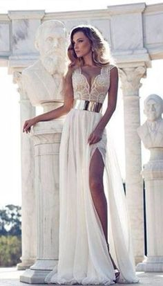 Belt: dress white dress gold prom dress cream, slit leg, gold , lace
