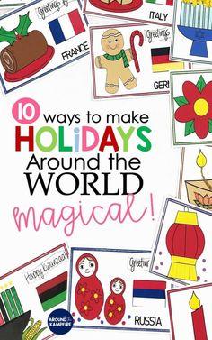 Preschool Lessons, Preschool Activities, Preschool Curriculum, Celebration Around The World, World Crafts, Preschool Christmas, Thinking Day, Holiday Traditions, Christmas Activities