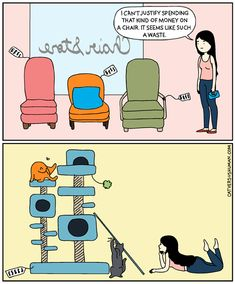 14 Life Situations Every Cat Owner Deals With On a Daily Basis (Comics) - World's largest collection of cat memes and other animals Cute Baby Dogs, Cute Babies, Crazy Cat Lady, Crazy Cats, Cat Vs Human, Tastefully Offensive, Cat Comics, Cat Hair, Cat Drawing