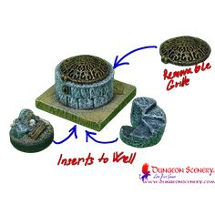 Dungeon Scenery is modular terrain for board games, wargames, RPG, D&D Miniature Bases, Game Terrain, Wargaming Terrain, Ponds, Wells, Dungeons And Dragons, Tabletop, Board Games, Bodies