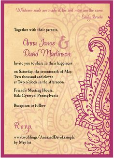 Persian Poppy Wedding Invitation - elegant India Mehndi Farsi ...