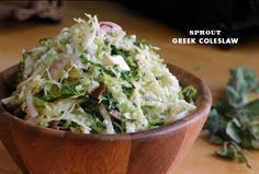 Sprout's Greek Coleslaw featuring Savoy cabbage, olives and feta, a lively combo that Ashley assures will keep in the fridge for a week.