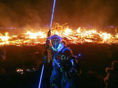 Enki - Techno Shaman.  Guarding the burning remains of the twisted machinery. Burning Man Burn  Night. #technoshaman #shaman #futureprimitive #fire #tribal #primitive #annunaki #ancientaliens #crystalofpower#crownofdestiny #hornedcrown #crystal #burningma