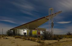 abandoned 66 station in Whites City, New Mexico  When design mattered in a building regardless of the usage.
