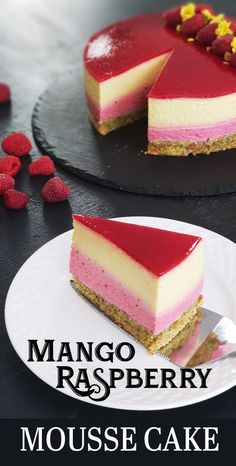 Mango Raspberry Mousse Cake is a light, elegant, flavorful dessert bursting of summer flavor. Mango Raspberry Mousse Cake is a light, elegant, flavorful dessert bursting of summer flavor. Strawberry Mousse Cake, Raspberry Mousse Cake, Chocolate Mousse Cake, Raspberry Chocolate, Raspberry Dessert Recipes, Nutella Mousse, Summer Cake Recipes, Dessert Chocolate, Flourless Chocolate