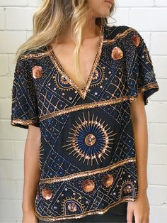 Antik Batik Imala Tee - Black/ Beaded #Unique_Boho_Style