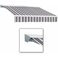 Destin-LX with Hood Manual Retractable Awning, 18 ft.W x 10 ft.Proj, Gray