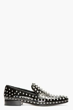 Dsquared2 Black Grain Patent Leather Studded Loafers for men | SSENSE