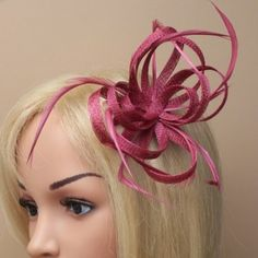 £12.99 Cranberry Looped Hessian Net & Feather Fascinator Wedding Tiara Veil, Wedding Tiaras, Wedding Fascinators, Internet Advertising, Veil Hairstyles, Hessian, Feather, Hair Accessories, Quill