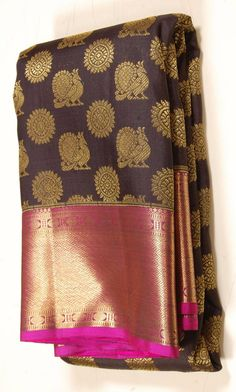 Golden annapakshi Handloom Traditional Kanjeevaram Silk Saree