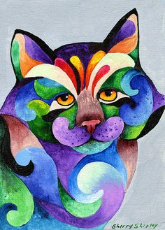 "ilustración de Sherry Shipley………WHAT A COLORFUL ""MEOW-ER""…….HERE KITTY, KITTY, KITTY……………ccp"