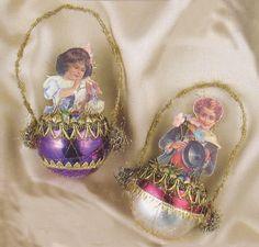 Christmas vintage ornaments  Vintage Lace  Bamboo Hoop Vintage Christmas Ornaments Antique Ornaments  Set of 3  Handmade Vintage Fabric