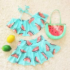 Cute Melon Spring Summer Skirt Girls Swimwear Two Pieces Kids Clothes Bathing Suits Children Swimsuits DBO