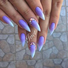 Purple gradient stiletto nails