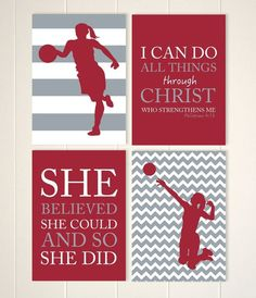 tween girl wall art volleyball girls art basketball wall art girls motivational art girls bedroom decor sports art set of 4 prints - Volleyball Bedroom Decor
