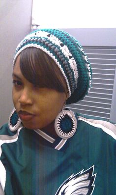 SALE Philadelphia Eagles colors Slouch hat Slouchy by ScarFanatic, $30.00