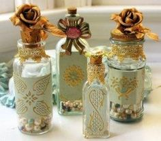 DIY::Victorian Vintage Christmas Bottles made with modpodge