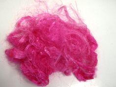 Firestar Nylon Trilobal bright fibre hand dyed hot pink 20 grams .70 oz spinning fibre felting fibre needle felting by feltfibrecraft on Etsy