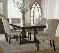 Fabric Dining Room Chairs dining room chairs fabric small images of grey fabric dining BIFSSZH - Home Decor Ideas Fabric Dining Room Chairs, Tufted Dining Chairs, Leather Dining Room Chairs, Dining Room Furniture, Modern Furniture, Leather Chairs, Furniture Design, Rustic Furniture, Luxury Furniture