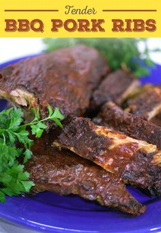Try making BBQ pork ribs right in your oven with this easy recipe. They will be so tender that the meat will fall off the bone. So yummy! Baby Back Pork Ribs, Bbq Pork Ribs, Pork Chop, Chef Recipes, Pork Recipes, Slow Cooker Recipes, Favorite Chili Recipe, Favorite Recipes, Game Day Snacks