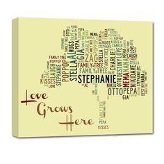 Family Tree Using names of family members in the shape of a tree. Makes a great gift!