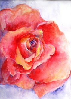 Roses Are Red Artist Gwendolyn Leigh Faherty Watercolor 13 x 11 | uptownartsgranburytx - Painting on ArtFire