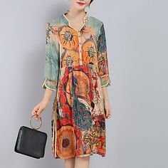 Women's Plus Size Going out Sophisticated Loose Dress,Print Split V Neck Knee-length ¾ Sleeve Silk Polyester Orange Spring Summer Mid Rise – USD $ 13.99